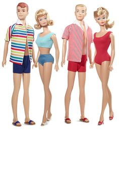 Double Date 50th Anniversary Gift Set Barbie Fan Club Exclusive Dolls, 2014, $100 at BarbieCollector.com - I bought this set on sale for $93. This set commemorates the first time this foursome came together. Barbie, Ken, Midge and Allan wear re-creations of their swimwear as sold in 1964. Barbie models her swirl ponytail, which also debuted that same year.