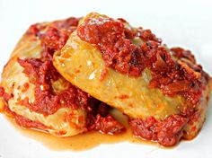Bratwurst-Stuffed Cabbage Rolls With Smoky Bacon-Tomato Sauce