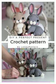 Crochet Rabbit Free Pattern, Easter Crochet Patterns, Crochet Amigurumi Free Patterns, Crochet Dolls, Crochet Gifts, Cute Crochet, Crochet Christmas Decorations, Easter Gift, Easter Bunny