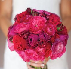 Bridal Bouquet# Bride# Bouquet#    We love the hot pink garden roses, red garden roses, red bouvardia, and red ranuculas!! Fav for sure!