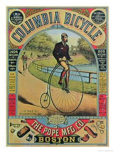 Advert For the Columbia Bicycle by the Pope Mfg Co., Boston