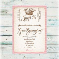 Pink Glitter Look Sweet 16 Sixteen Party Card Sweet sixteen