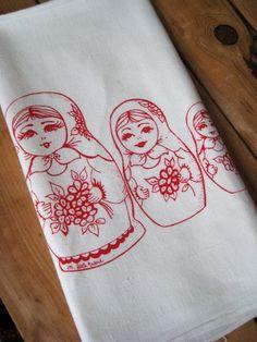 Screen Printed Organic Cotton Flour Sack Tea Towel - Nesting Dolls - Eco Friendly Hand Towel $10