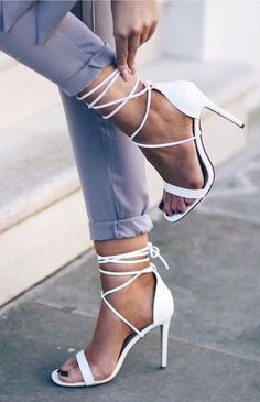 White Lace Up Heels                                                                             Source