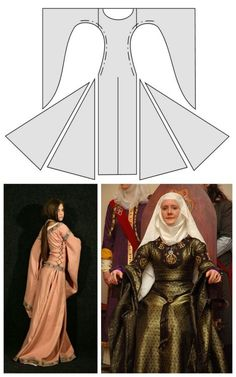 "truebluemeandyou: "" DIY Medieval Dresses from Medieval Wedding Dresses. The above photos are of the ""bliaut"", which ""is a rich, full overgown made of fine silk, laced tight down the sides of the body,. Medieval Fashion, Medieval Clothing, Historical Clothing, Costume Patterns, Dress Patterns, Costume Renaissance, Diy Medieval Costume, Medieval Crafts, Diy Kleidung"