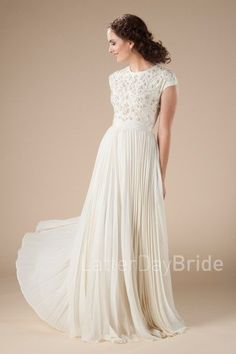 modest wedding dresses at latter day bride, the Avery with pleated skirt and beaded bodice | LatterDayBride & Prom | LDS Wedding Dress | Modest Wedding Dress | Modest Bridal 2018 | Christian Bride | Wedding Dress with Sleeves | Salt Lake City Utah Bridal Shop | Worldwide Shipping | #latterdaybride #modestweddingdress #lds #ldswedding #templewedding