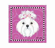 Maltese Pet Portrait Art Print Illustration Wrapped by AllisStudio