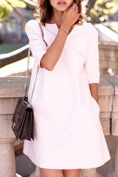 Lace Up V-Neck Half Sleeve Solid Color Dress