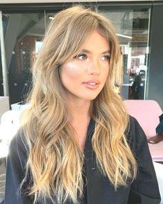 Bangs With Medium Hair, Long Bangs, Long Hair Cuts, Medium Hair Styles, Long Hair Styles, Kim K Short Hair, Blonde Hair Cuts Medium, Blonde Hair Looks, Brown Blonde Hair