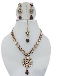 Amazon.com: Victorian Jewelry- Kundan Emerald Stone Studded Polki Necklace Earring Set: Tarini Jewels: Jewelry