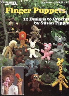 Free Us Ship Finger Puppets Crochet 1986 Out of Print Animals Leisure Arts 435 Horse Lion Monkey Pig Cat Dog Giraffe Mouse Squirrel Rabbit by LanetzLivingPatterns on Etsy