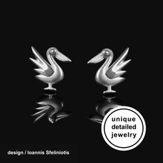 Bird Pelican Earrings – Silver Animal Stud Earrings. The perfect gift for bird lover. You will love their delicate design! These cute earrings have a wonderful detailing and flawless 3D craftsmanship with my unique repousse technique #pelican #bird #pelicanjewelry #birdjewelry #birdearrings #birdstudearrings