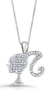 Barbie Rocks Diamond Sterling Silhouette Necklace with Signature Heart and Tag (Larger Pendant)