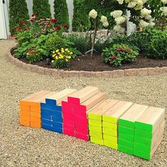 Giant Neon Outdoor Wooden Block Game - Project by DecoArt