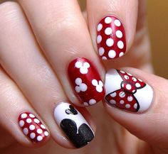 Who doesn't like Polka Dots? Properly assuming that you simply love polka dot nail designs, right here's a bouquet of polka dot nails that may encourage you and allow you to get one. Disney Nail Designs, Dot Nail Designs, Simple Nail Art Designs, Best Nail Art Designs, Easy Nail Art, Nails Design, Minnie Mouse Nail Art, Mickey Mouse Nails, Dot Nail Art