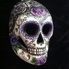 Sugar Skull Mask Day Of The Dead Tattoo Art Hand Painted Signed Lace Rose