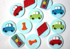 "DETAILS: -- one dozen transportation (as shown) -- this package will include a variety as follows: 3 cars, 3age numbers, 3 ""vroom"", and 3 traffic lights -- each topper is approximately 1.75"" in lenth"