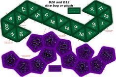 D20 and D12 dice bags with zipper or Plushy cut and sew patterns.  Suggested fabric: faux suede, Minky, or Canvas.    Many of the brushes used to create these designs are by www.obsidiandawn.com