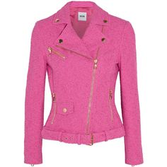 Boutique Moschino Stretch-bouclé jacket (825 CAD) ❤ liked on Polyvore featuring outerwear, jackets, moschino, pink, coats, stretch jacket, pink jacket, pink zip jacket, zip jacket and boucle jackets