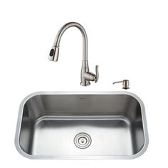 $419 at Lowes, $390 at HD, 30 x 18 x 10, Kraus Kitchen Combo 16-Gauge 1 Undermount Stainless Steel Kitchen Sink with Faucet