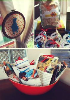 childrens book themed--little red riding hood baskets, book pages gift bags