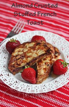 Almond Crusted Stuffed French Toast Recipe - Jeanette's Healthy Living for Better Breakfast Month Brunch Recipes, Sweet Recipes, Breakfast Recipes, Brunch Ideas, Healthy Recipes, Romantic Breakfast, Best Breakfast, Breakfast Items, French Toast