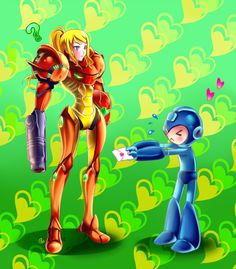 Pretty funny fanart and size comparison between Samus and megaman. I just wish that the background was a different color, because this is supposed to be romantic and green doesn't really fit too well. Great use of highlights for Samus and great shadows ca Metroid Samus, Samus Aran, Akira, Nintendo Super Smash Bros, Nintendo Sega, Nintendo Games, Pokemon, 8 Bits, Fanart