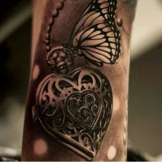 coole Schmetterling Tattoo Ideen Herz Tattoo Schmetterling Tattoo als coole Tattoo Ideen Tattoos Motive, Neue Tattoos, 3d Tattoos, Trendy Tattoos, Body Art Tattoos, Anchor Tattoos, Feminine Tattoos, Tatoos, Frame Tattoos