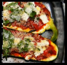 marrow stuffed with anchovy, tomato and lentil Vegetarian Cooking, Vegetarian Recipes, Healthy Recipes, Yummy Recipes, Stuffed Marrow, Vegetable Marrow, Marrow Recipe, Pizza, Good Enough To Eat