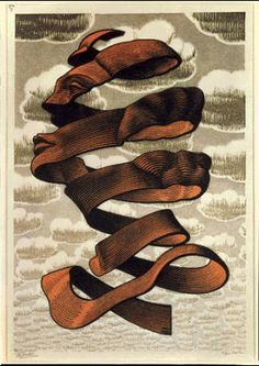 M.C. Escher    Rind 1955 wood engraving and woodcut in black, brown, blue-grey and grey, printed from 4 blocks