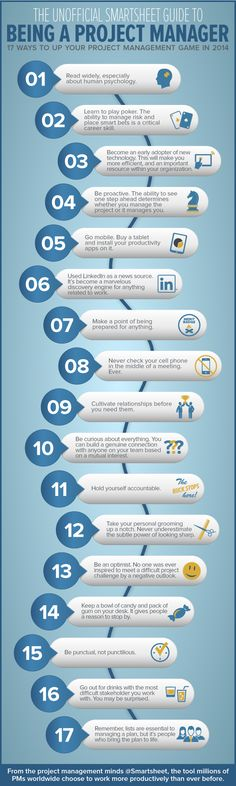 The Unofficial Smartsheet Guide to Being a Project Manager #infographics http://www.tykans.com