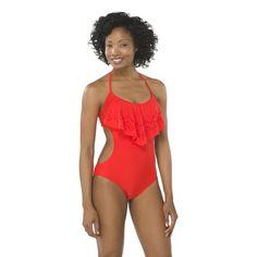 Women's Flounce 1-Piece Swimsuit -Orange