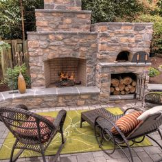 Outdoor Fireplace with pizza oven - traditional - patio - portland - Paradise Restored Landscaping & Exterior Design Oven Design, Patio Design, Exterior Design, Wall Design, Kitchen Design, Outdoor Rooms, Outdoor Living, Outdoor Decor, Outdoor Photos