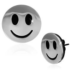 16mm Stainless Steel 2 Tone Happy Smiling Smiley Circle Stud Earrings Pair