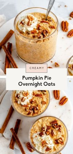 Thick and creamy pumpkin pie overnight oats with chia make the perfect easy breakfast! These healthy pumpkin overnight oats are protein-packed thanks to greek yogurt and naturally sweetened with a bit of pure maple syrup. Top with whatever your heart desires!#overnightoats #oatmeal #pumpkin #pumpkinpie #glutenfree #healthybreakfast Chia Oatmeal Recipe, Oatmeal Recipes, Pumpkin Recipes, Baked Oatmeal, Fall Recipes, Breakfast Snacks, Breakfast Dishes, Best Breakfast, Breakfast Recipes