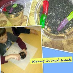 worms in mud snack.  great for a bug theme.