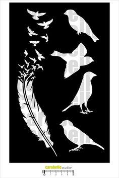Pochoir Plume et Oiseaux - Art Template - CARABELLE STUDIO