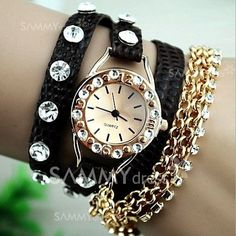 $5.02 Quartz Bracelet Watch for Women with Diamonds Design Leather and Stainless Steel Watchband