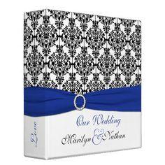 "2"" Blue, White and Black Damask Wedding Binder"
