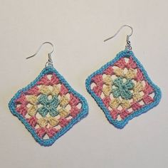 Crochet granny square earrings Square Earrings, Crochet Granny, Whimsical, Crochet Earrings, Instagram Posts, Fun, Handmade, Fin Fun, Hand Made