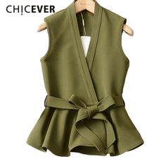 Chicever 2018 Autumn Waistcoat For Women Female Vest Lace Up Ruffles Slim Sleeveless Plus Size Women's Vest Coat Fashion Korean Hijab Fashion, Korean Fashion, Fashion Outfits, Fashion Ideas, Womens Fashion, Ladies Fashion, Plus Size Vests, Coats For Women, Clothes For Women