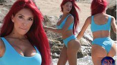 Farrah Abraham showcases her hourglass figure in skimpy blue bikini