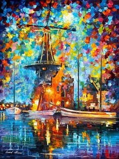 A Mill Near Amsterdam — Palette Knife City Modern Wall Art Oil Painting On Canvas By Leonid Afremov - Size: X Inches cm x 75 cm) Ecole Art, Leonid Afremov Paintings, Modern Wall Art, Oil Painting On Canvas, Beautiful Paintings, Art Oil, Amazing Art, Fine Art, Art Prints
