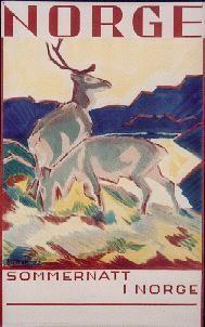 Norge - Sommernatt i Norge  Designer:Gert Jynge 1933