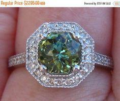 Valentine Day Sale... Green Sapphire Engagement Ring, 1.65 Carat Precision Cut Untreated Green Sapphire in White Gold Milgrain Bezel Diamond