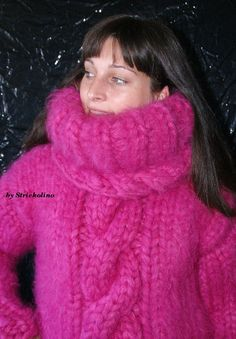 Mohair Pullover mit Zopfmuster