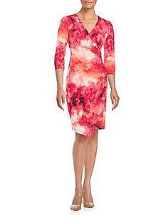 Calvin Klein Printed Asymmetrical Wrap Dress - Hibscus - Size