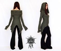 Hikari tunic. Cowl neck tunic. Elven hooded por AbstractikaCrafts
