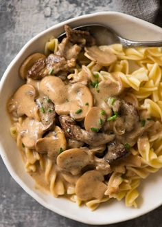 Stroganoff Beef Storganoff - A retro favourite made with juicy beef smothered in a creamy mushroom gravy.Beef Storganoff - A retro favourite made with juicy beef smothered in a creamy mushroom gravy. Pasta Recipes, Beef Recipes, Cooking Recipes, Beef Meals, Recipes With Beef Tenderloin Tips, Chicken Recipes, Cooking Bacon, Game Recipes, Quiche Recipes