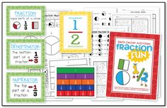 This packet is full of Fraction FUN! In this unit you will find... 3 anchor charts {fraction, numerator, & denominator}, labeling fractions activity with anchor chart and worksheet, fraction book for teacher, mini fraction book for student {with a cut and paste activity}, fraction bookmarks, fraction line chart with an activity/assessment, memory game, fraction sort, story problems, task cards (for independent work), 5 practice worksheets, & 2 Numerator/Denominator Charts {vertical & horizontal}.